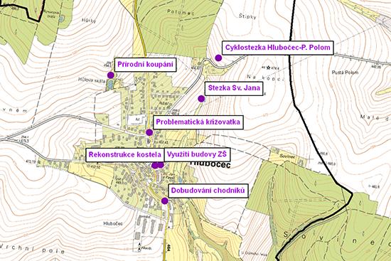 Strategické plány obcí: lokalizace hlavních rozvojvých záměrů a problémů