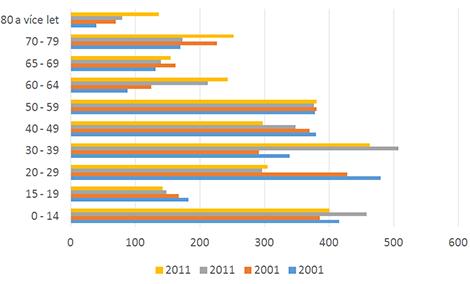 Demografické studie: ilustrační graf rozdělení věkových skupin