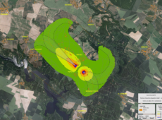Hluková mapa vojenského letiště v Náměšti