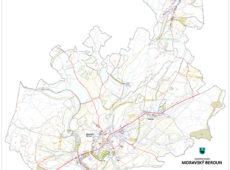 Výkres záborů zemědělské půdy územního plánu Moravského Berouna